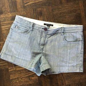 Theory blue pinstripe shorts (size 10)